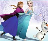Пазлы. Принцессы Эльза и Анна  катаются на коньках