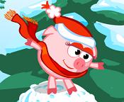 Смешарики. Свинка Нюша на снежном коме