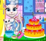 Кошечка Анжела готовит торт для Тома