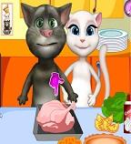 Кошки Том и Анжела готовят семейный обед