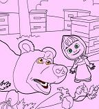 Маша и Медведь на пасеке