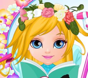 Прическа, украшенная цветами, для малышки Барби