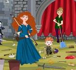 Принцесса Мерида  занимается уборкой  в замке