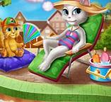 Анжела отдыхает в   бассейне
