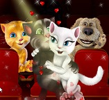Кошки Том и Анжела целуются в кинотеатре