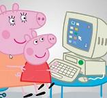 Пазлы.  Свинка Пеппа осваивает компьютер