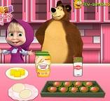 Маша готовит шоколадное печенье для Медведя