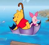 Винни Пух и Пятачок путешествуют в зонтике