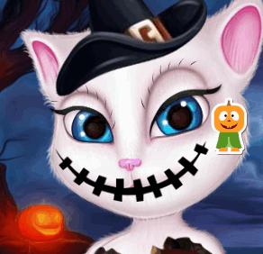 Макияж для кошки Анжелы на Хэллоуин