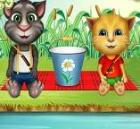 Кот Том и котенок Джинджер едут на рыбалку