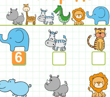 Дети учатся порядку чисел со зверями Африки