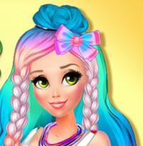 Радужный стиль современной принцессы Рапунцель