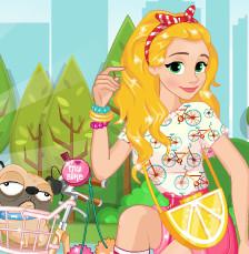 Принцесса Рапунцель. Прогулка  на велосипеде
