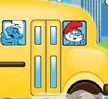 Смурфики едут на автобусе в школу