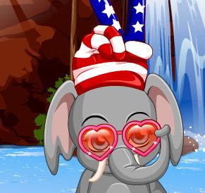 Слоненок купается
