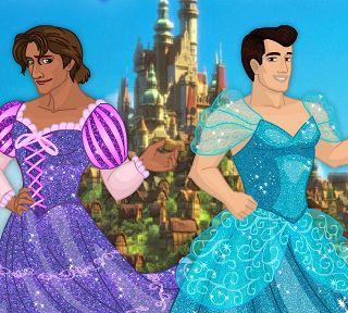 Принцы Диснея в платьях принцесс