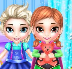 Малышки принцессы Эльза и Анна стирают игрушки
