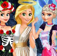 Принцессы Диснея готовятся  на Хэллоуин вечеринку