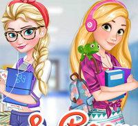 Принцессы Эльза и Рапунцель модницы колледжа