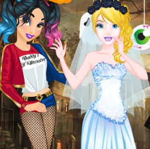 Принцессы диснея на шуточном маскараде хэллоуина