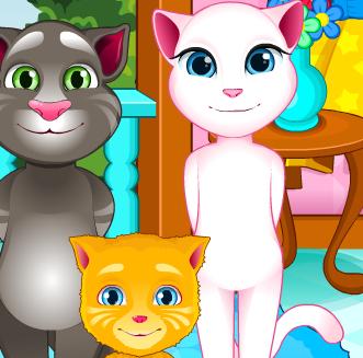 Кошка Анжела ухаживает за котенком Джинджером