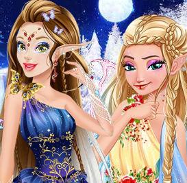 Принцессы Диснея в образе  зимних эльфов