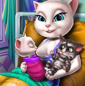 Кошка Анжела рожает близнецов