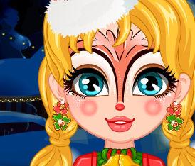 Рождественский макияж на лице Барби  и ее дочурки